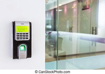 telclado numérico, para, acceso, control