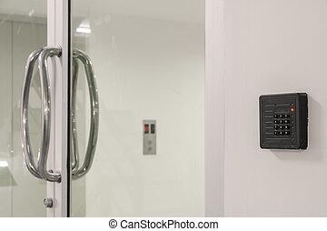 telclado numérico, puerta, control, acceso