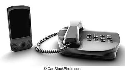 Telco bundle fix and cell phone isolated on white