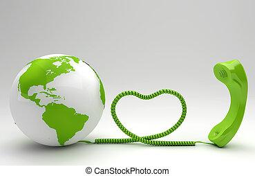 telco, conceito, verde