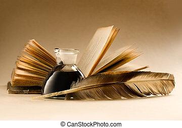 tele, öreg, könyv, tintatartó, tinta, tollazat