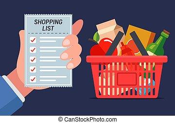 tele, bevásárlás, drogéria, jár, lista, cart., store.
