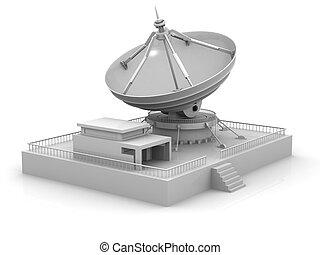 Tele Communication system. Satellite dish on white background