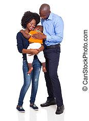 tele, család, fiatal, hosszúság, afrikai, boldog
