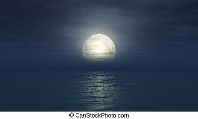 tele, elhomályosul, óceán, hold