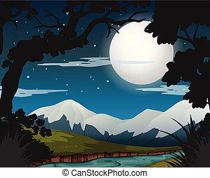 tele, erdő, hold, éjszaka