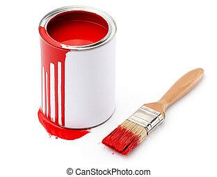 tele, közül, piros festmény, ón, közel, a, ecset