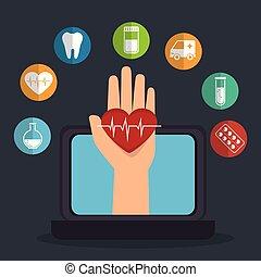 tele, medicina, linea, con, laptop