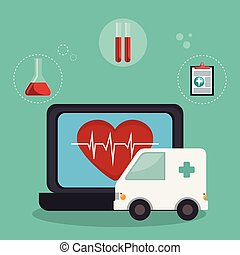 tele medicine online with laptop