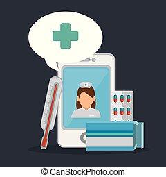 tele medicine online with smartphone vector illustration...