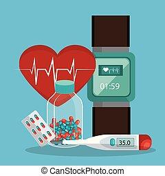 tele medicine online with smartwatch vector illustration...