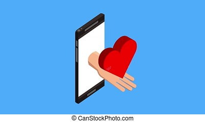 tele medicine technology with smartphone and heart cardio...