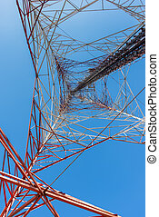 Tele-radio tower with clear blue sky.