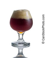 tele, talpas pohár, sötét, pohár, sör, vázlat