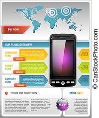 telecom, beweeglijk, mobiele telefoon, flyer, leverancier, ...