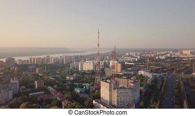 Telecom city tower - Telecom communication tower in city...