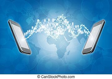 telecom, e, móvel, tecnologia