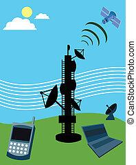 telecom, laptop, satellite;, telefon, beweglich, turm