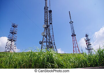 telecom, oberseite, aufstellen, turm