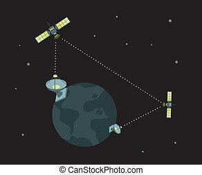 telecom, satelita, /, pracujący