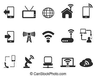 telecom, set, nero, icone