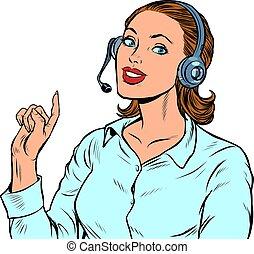 telecom, stöd, operator., telefon, kvinnlig