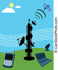 Telecom tower with satellite; laptop and mobile phone