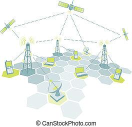telecom, trabalhando, diagrama