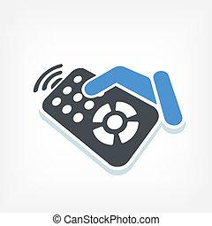 telecomando, etichetta, icona