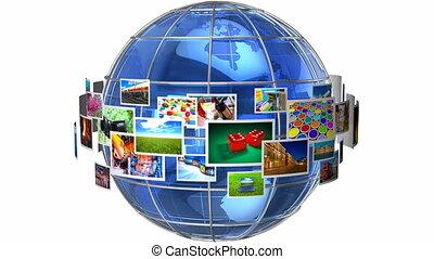 telecommunicatie, en, media, concept