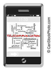 telecommunicatie, woord, wolk, concept, op, touchscreen, telefoon