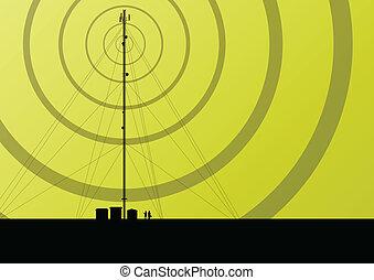 telecommunicaties, beweeglijk telefoon basis station, radio...