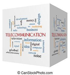 Telecommunication 3D cube Word Cloud Concept