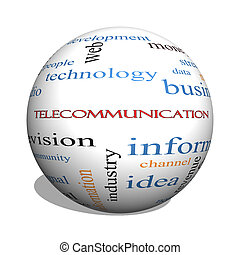 Telecommunication 3D sphere Word Cloud Concept