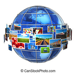 Telecommunication and media technologies concept: cloud of ...