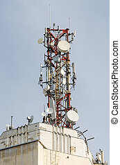 Telecommunication Antenna On Top Of A Building