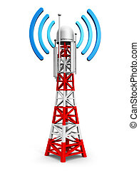Creative abstract digital cellular telecommunication technology and wireless connection business concept: mobile base station or TV transmitter antenna pylon isolated on white background