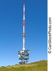 Telecommunication antennaon the top of mount Rigi