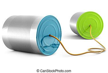 telecommunication concept - aluminium can telephone isolated...