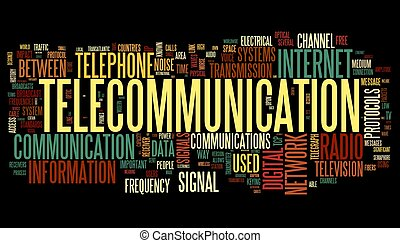 Telecommunication concept in word tag cloud isolated on...