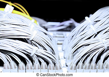Telecommunication E1 line in a datacenter. -...