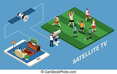 Telecommunication Isometric Composition - Telecommunication...