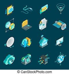 Telecommunication isometric icons set with satellite dish data hub optical fiber receiver isolated elements vector illustration