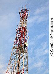 Telecommunication Radio antenna Tower with blue sky