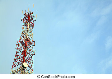 Telecommunication Radio antenna Tower with blue sky
