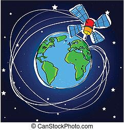 Telecommunication satellite around the earth