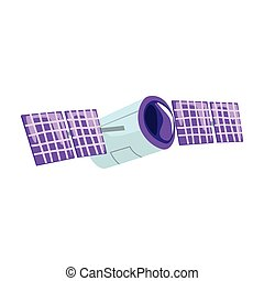 Telecommunication satellite cartoon vector Illustration