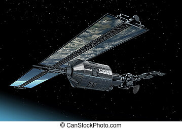 Telecommunication Satellite flying
