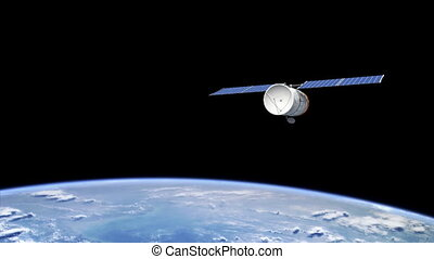Telecommunication satellite orbiting the Earth