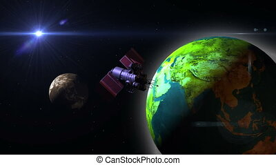 Telecommunication Satellite with solar panels flying over the earth
